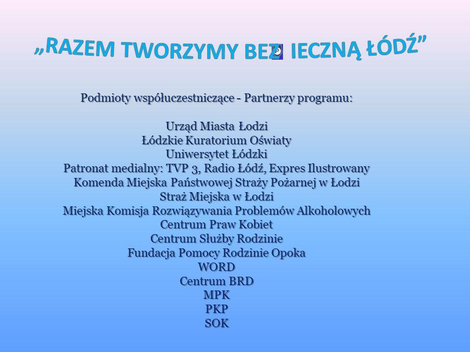 Wzrost realnego bezpieczeństwa na terenie miasta Łodzi. Wzrost poczucia bezpieczeństwa wśród mieszkańców Łodzi. Kształtowanie bezpiecznych zachowań or