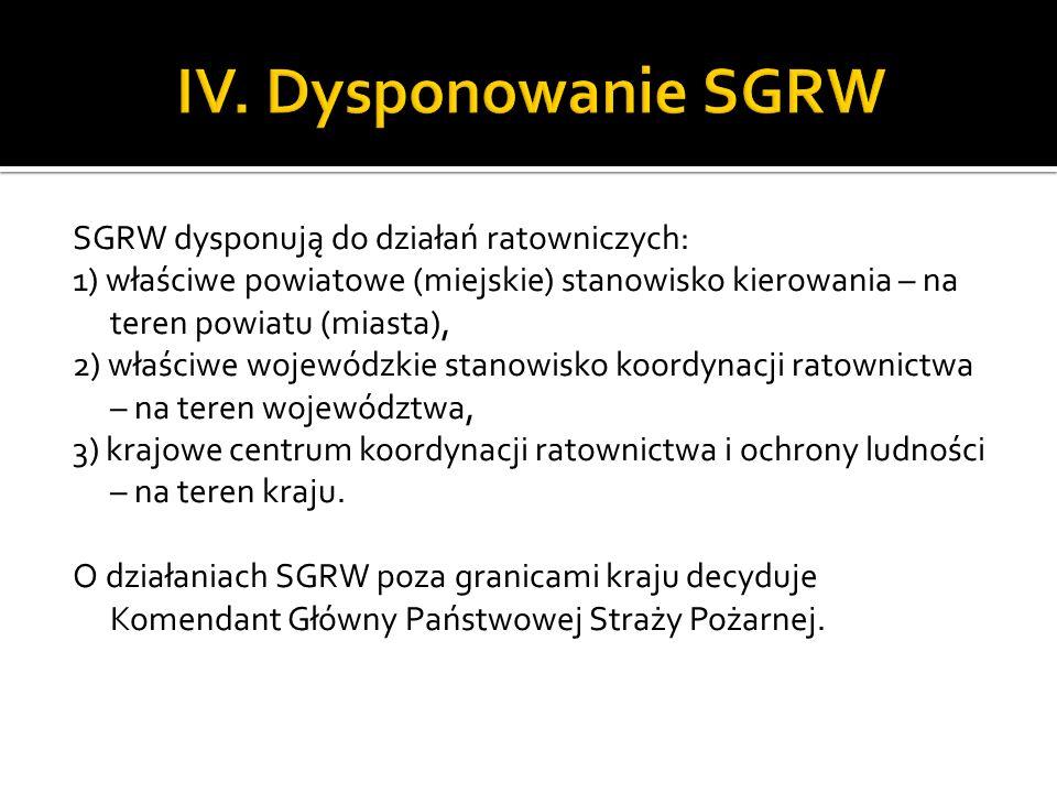 SGRW dysponują do działań ratowniczych: 1) właściwe powiatowe (miejskie) stanowisko kierowania – na teren powiatu (miasta), 2) właściwe wojewódzkie st