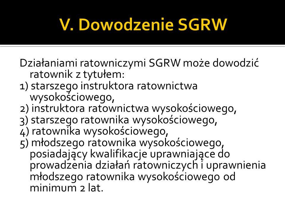 Działaniami ratowniczymi SGRW może dowodzić ratownik z tytułem: 1) starszego instruktora ratownictwa wysokościowego, 2) instruktora ratownictwa wysoko