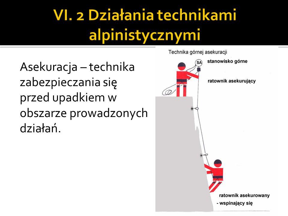 Asekuracja – technika zabezpieczania się przed upadkiem w obszarze prowadzonych działań.
