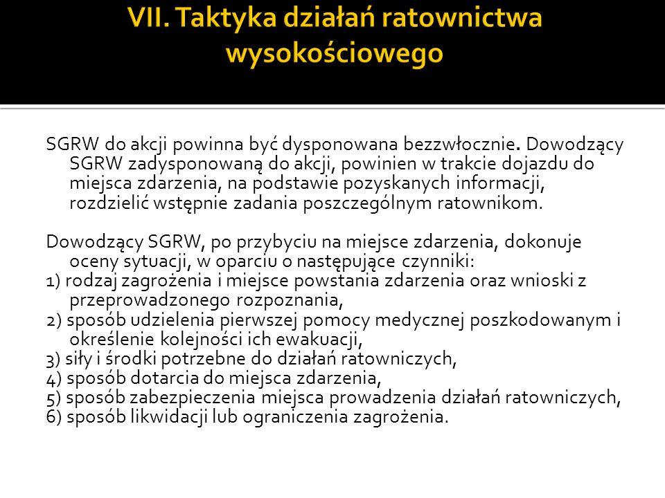 SGRW do akcji powinna być dysponowana bezzwłocznie. Dowodzący SGRW zadysponowaną do akcji, powinien w trakcie dojazdu do miejsca zdarzenia, na podstaw