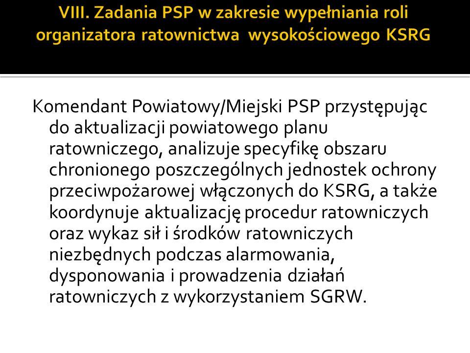 Komendant Powiatowy/Miejski PSP przystępując do aktualizacji powiatowego planu ratowniczego, analizuje specyfikę obszaru chronionego poszczególnych je