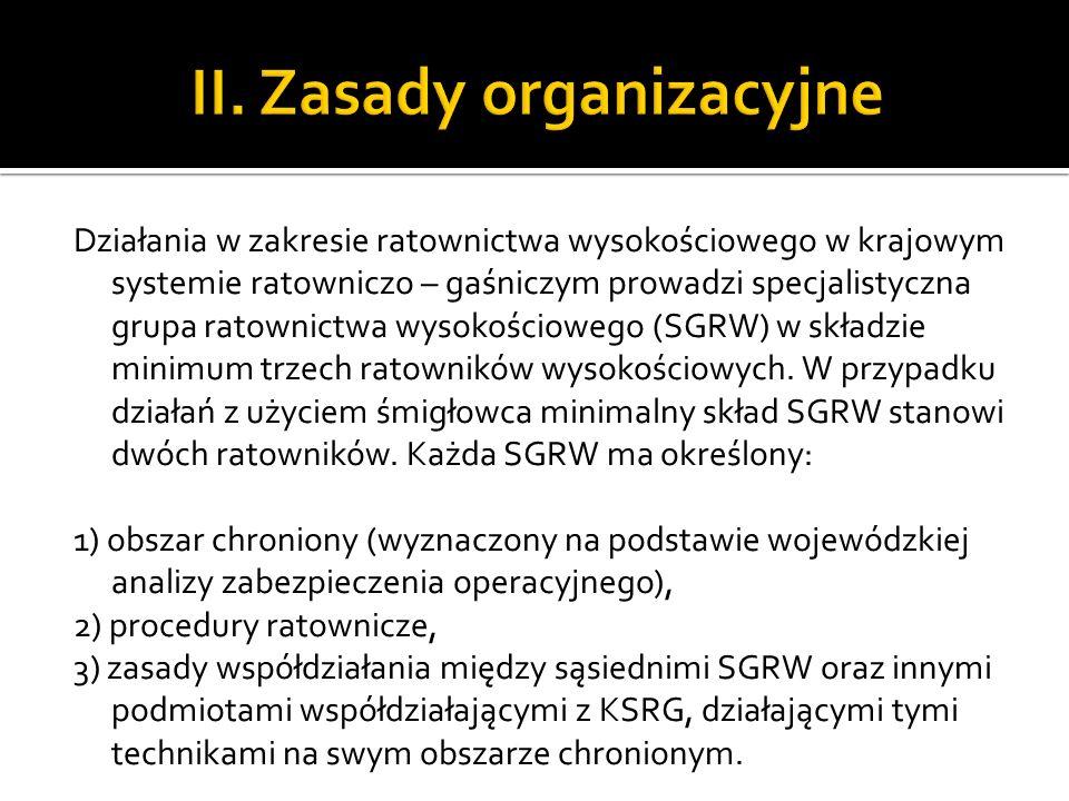 Działania w zakresie ratownictwa wysokościowego w krajowym systemie ratowniczo – gaśniczym prowadzi specjalistyczna grupa ratownictwa wysokościowego (