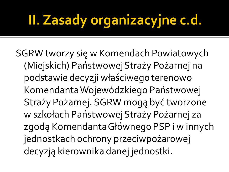 SGRW tworzy się w Komendach Powiatowych (Miejskich) Państwowej Straży Pożarnej na podstawie decyzji właściwego terenowo Komendanta Wojewódzkiego Państ