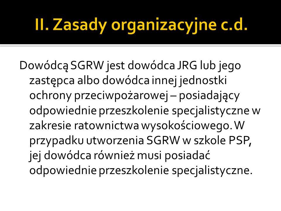 Plan budowy SGRW winien zawierać w szczególności: 1) deklarację gotowości strażaków – ratowników do funkcjonowania w SGRW i realizowania zadań na potrzeby KSRG, 2) miejsce stacjonowania i strukturę organizacyjną danej SGRW, pozwalające na jej niezwłoczne dysponowanie i realizację działań ratowniczych w zakresie specjalistycznym, 3) harmonogram szkoleń, w oparciu o kwalifikacje przyjęte w KSRG, 4) harmonogram zakupów sprzętu ratowniczego na poszczególnych etapach budowy danej SGRW oraz ewentualnego doposażenia Krajowych Baz Sprzętu Specjalistycznego i Środków Gaśniczych wraz ze wskazaniem koordynatora tego przedsięwzięcia, a także źródeł finansowania, 5) przygotowanie procedur ratowniczych, w szczególności w zakresie alarmowania, dysponowania i prowadzenia działań ratowniczych, 6) przygotowanie rocznego planu doskonalenia SGRW, stanowiącego element planu doskonalenia jednostki ochrony przeciwpożarowej, w strukturze której ta grupa funkcjonuje, 7) przygotowanie stosownej dokumentacji dotyczącej włączenia SGRW do KSRG – w przypadku, gdy SGRW należy do jednostki ochrony przeciwpożarowej spoza PSP.