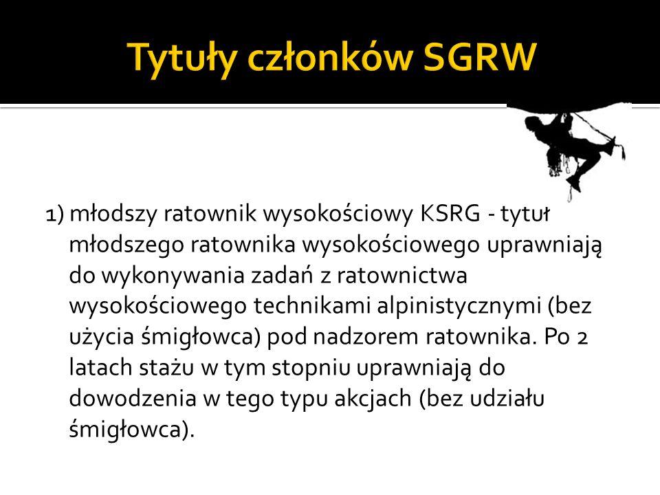 2) Ratownik wysokościowy KSRG - tytuł ratownika wysokościowego uprawnia do samodzielnego wykonywania zadań z zakresu ratownictwa wysokościowego, dowodzenia tymi działaniami i współpracy ze śmigłowcem (bez prawa wykonywania funkcji operatora).