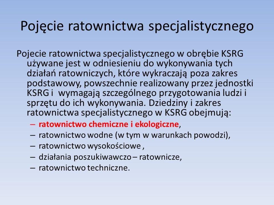 Pojęcie ratownictwa specjalistycznego Pojecie ratownictwa specjalistycznego w obrębie KSRG używane jest w odniesieniu do wykonywania tych działań ratowniczych, które wykraczają poza zakres podstawowy, powszechnie realizowany przez jednostki KSRG i wymagają szczególnego przygotowania ludzi i sprzętu do ich wykonywania.