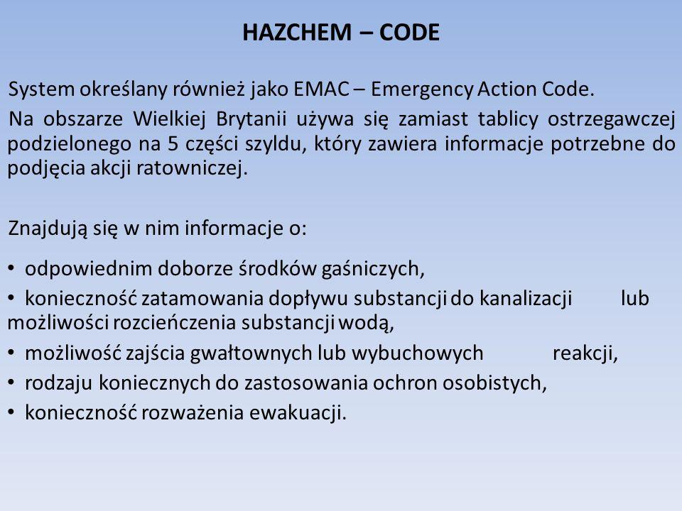 HAZCHEM – CODE System określany również jako EMAC – Emergency Action Code.