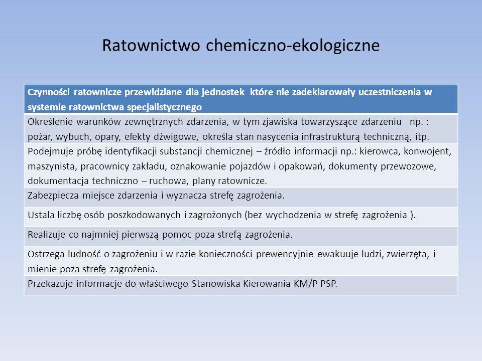 Ratownictwo chemiczno-ekologiczne Czynności ratownicze przewidziane dla jednostek poziomu podstawowego Rozpoznanie i zabezpieczenie miejsca zdarzenia oraz wyznaczenie strefy zagrożenia.