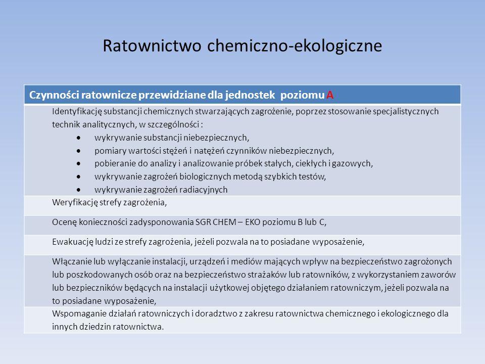 Ratownictwo chemiczno-ekologiczne Czynności ratownicze przewidziane dla jednostek poziomu A Identyfikację substancji chemicznych stwarzających zagrożenie, poprzez stosowanie specjalistycznych technik analitycznych, w szczególności : wykrywanie substancji niebezpiecznych, pomiary wartości stężeń i natężeń czynników niebezpiecznych, pobieranie do analizy i analizowanie próbek stałych, ciekłych i gazowych, wykrywanie zagrożeń biologicznych metodą szybkich testów, wykrywanie zagrożeń radiacyjnych Weryfikację strefy zagrożenia, Ocenę konieczności zadysponowania SGR CHEM – EKO poziomu B lub C, Ewakuację ludzi ze strefy zagrożenia, jeżeli pozwala na to posiadane wyposażenie, Włączanie lub wyłączanie instalacji, urządzeń i mediów mających wpływ na bezpieczeństwo zagrożonych lub poszkodowanych osób oraz na bezpieczeństwo strażaków lub ratowników, z wykorzystaniem zaworów lub bezpieczników będących na instalacji użytkowej objętego działaniem ratowniczym, jeżeli pozwala na to posiadane wyposażenie, Wspomaganie działań ratowniczych i doradztwo z zakresu ratownictwa chemicznego i ekologicznego dla innych dziedzin ratownictwa.