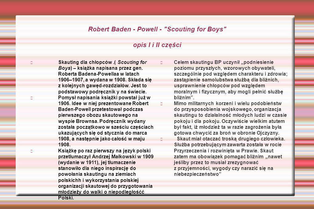 Robert Baden - Powell - Scouting for Boys opis I i II części Skauting dla chłopców.( Scouting for Boys) – książka napisana przez gen.