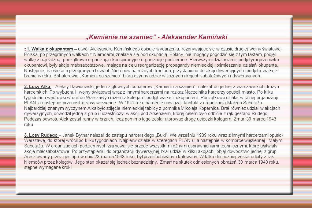 Kamienie na szaniec - Aleksander Kamiński 1.