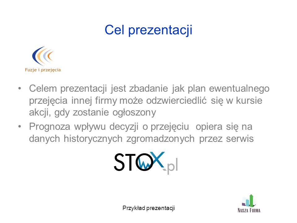 Przykład prezentacji Cel prezentacji Celem prezentacji jest zbadanie jak plan ewentualnego przejęcia innej firmy może odzwierciedlić się w kursie akcji, gdy zostanie ogłoszony Prognoza wpływu decyzji o przejęciu opiera się na danych historycznych zgromadzonych przez serwis