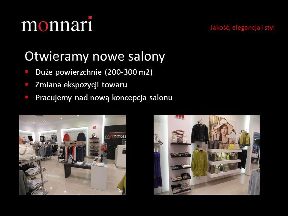 Otwieramy nowe salony Duże powierzchnie (200-300 m2) Zmiana ekspozycji towaru Pracujemy nad nową koncepcja salonu Jakość, elegancja i styl