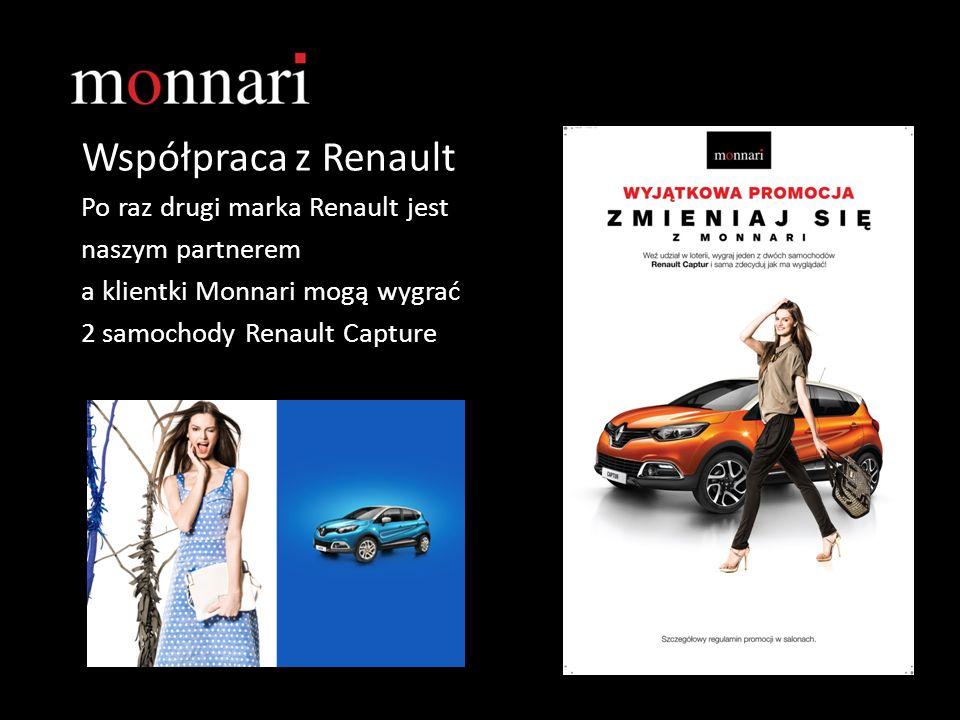 Współpraca z Renault Po raz drugi marka Renault jest naszym partnerem a klientki Monnari mogą wygrać 2 samochody Renault Capture