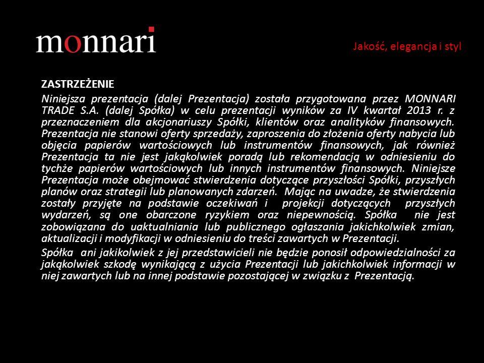 ZASTRZEŻENIE Niniejsza prezentacja (dalej Prezentacja) została przygotowana przez MONNARI TRADE S.A. (dalej Spółka) w celu prezentacji wyników za IV k