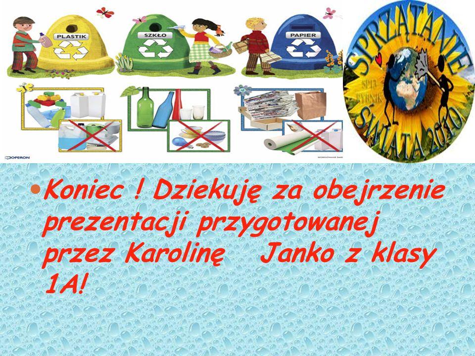 Koniec ! Dziekuję za obejrzenie prezentacji przygotowanej przez Karolinę Janko z klasy 1A!