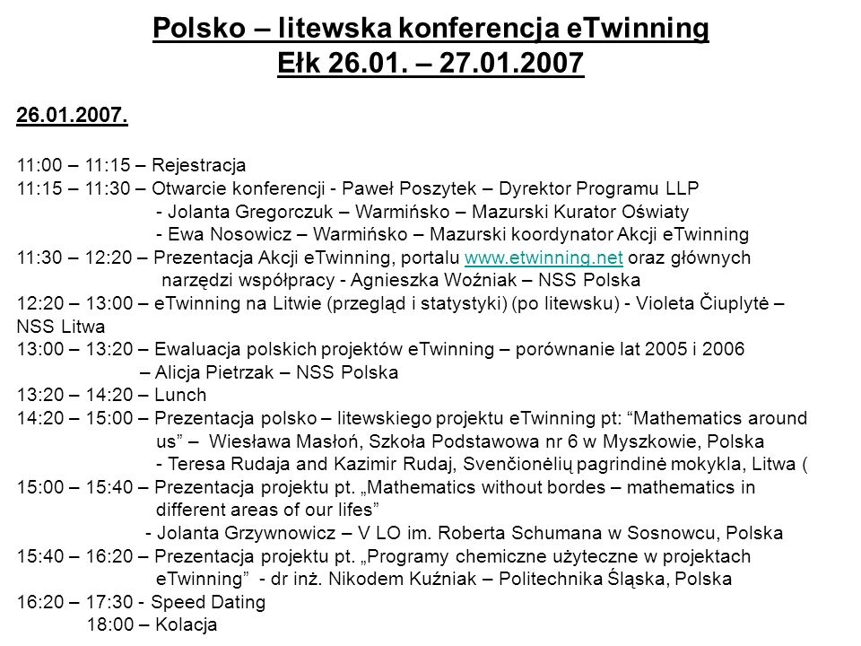 Polsko – litewska konferencja eTwinning Ełk 26.01.