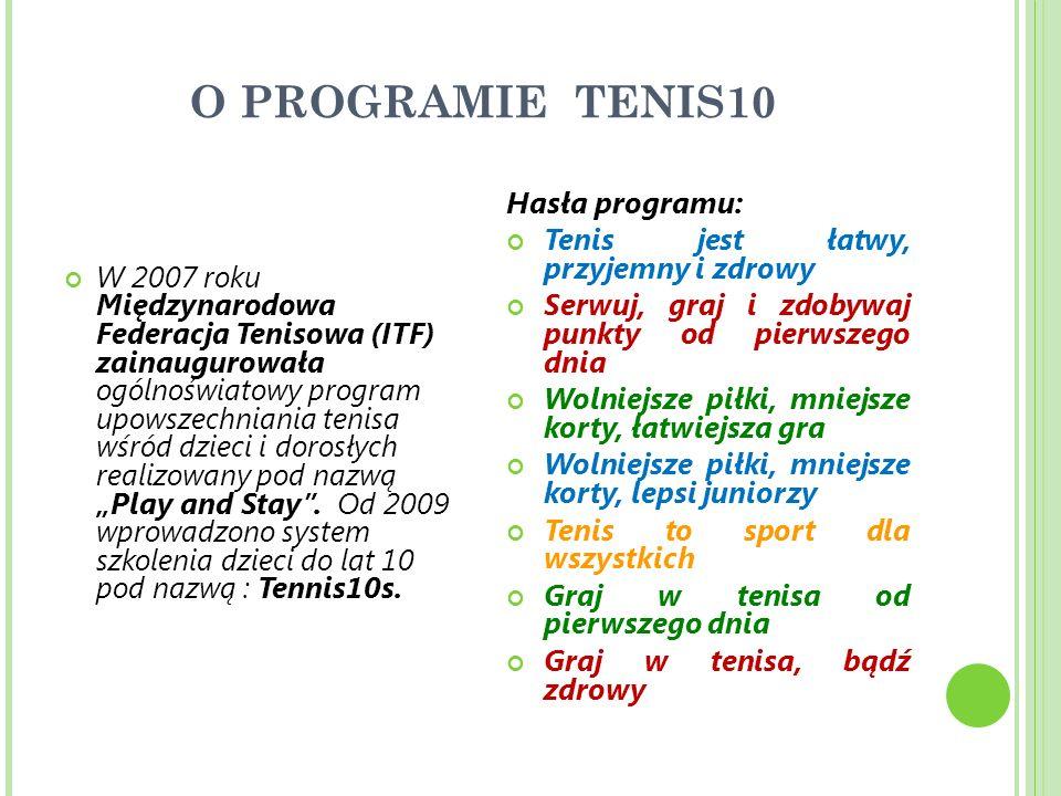 O PROGRAMIE TENIS10 W 2007 roku Międzynarodowa Federacja Tenisowa (ITF) zainaugurowała ogólnoświatowy program upowszechniania tenisa wśród dzieci i dorosłych realizowany pod nazwą Play and Stay.