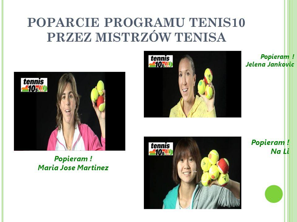 POPARCIE PROGRAMU TENIS10 PRZEZ MISTRZÓW TENISA Popieram .