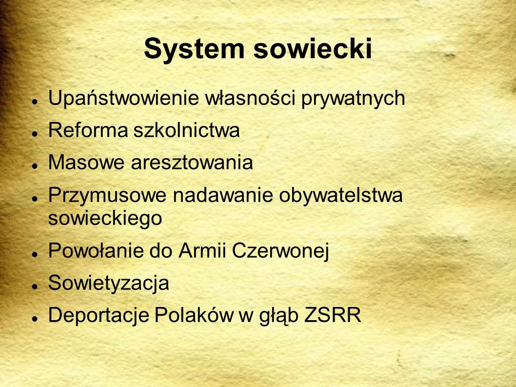 System sowiecki Upaństwowienie własności prywatnych Reforma szkolnictwa Masowe aresztowania Przymusowe nadawanie obywatelstwa sowieckiego Powołanie do Armii Czerwonej Sowietyzacja Deportacje Polaków w głąb ZSRR