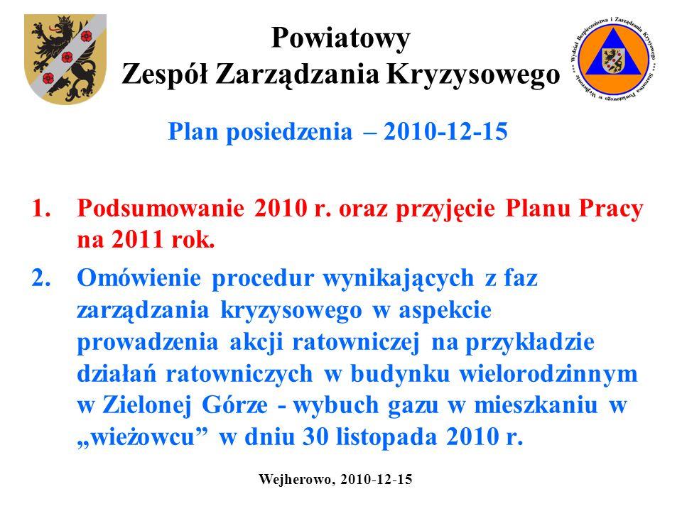 Powiatowy Zespół Zarządzania Kryzysowego Plan posiedzenia – 2010-12-15 1.Podsumowanie 2010 r. oraz przyjęcie Planu Pracy na 2011 rok. 2.Omówienie proc
