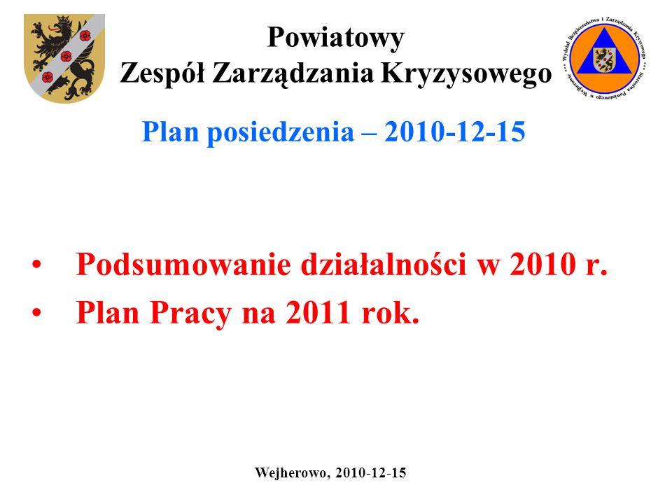 Powiatowy Zespół Zarządzania Kryzysowego Plan posiedzenia – 2010-12-15 Podsumowanie działalności w 2010 r. Plan Pracy na 2011 rok. Wejherowo, 2010-12-