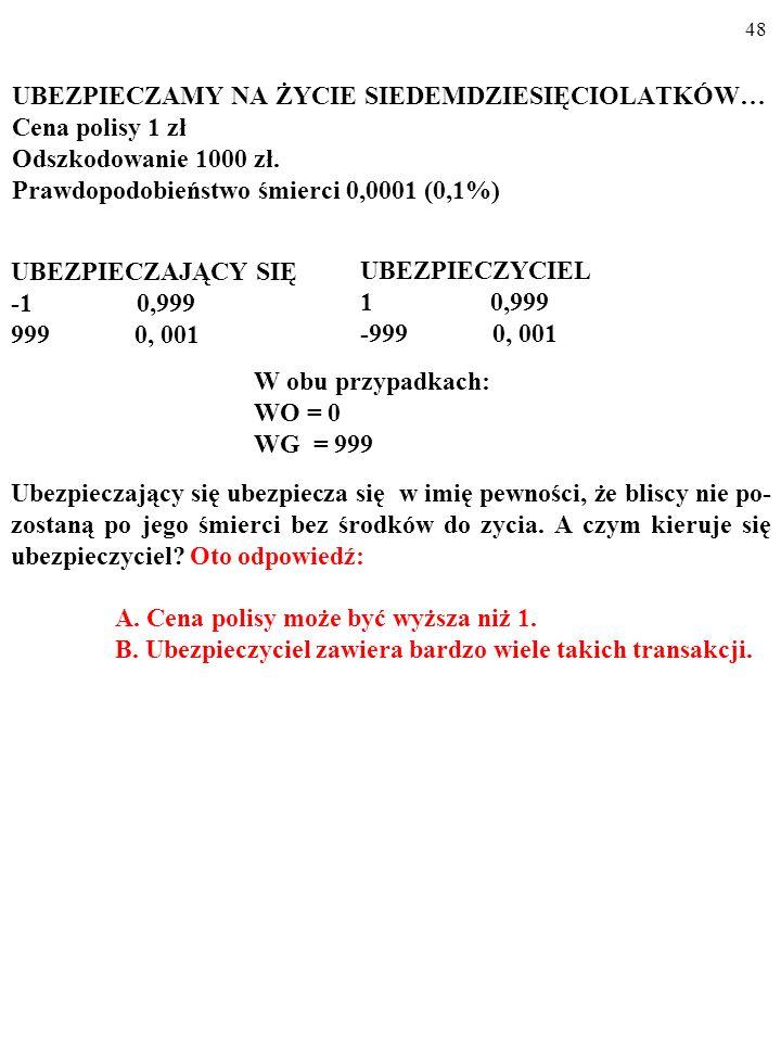 47 UBEZPIECZAMY NA ŻYCIE SIEDEMDZIESIĘCIOLATKÓW… Cena polisy 1 zł Odszkodowanie 1000 zł.