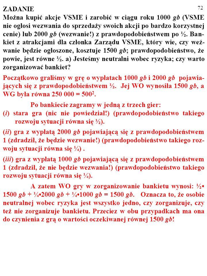 71 ZADANIE Można kupić akcje VSME i zarobić w ciągu roku 1000 gb (VSME nie ogłosi wezwania do sprzedaży swoich akcji po bardzo korzystnej cenie) lub 2000 gb (wezwanie!) z prawdopodobieństwem po ½.