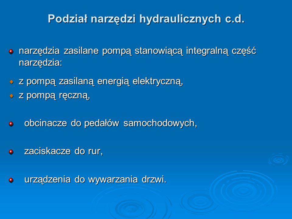 Podział narzędzi hydraulicznych c.d. narzędzia zasilane pompą stanowiącą integralną część narzędzia: z pompą zasilaną energią elektryczną, z pompą ręc