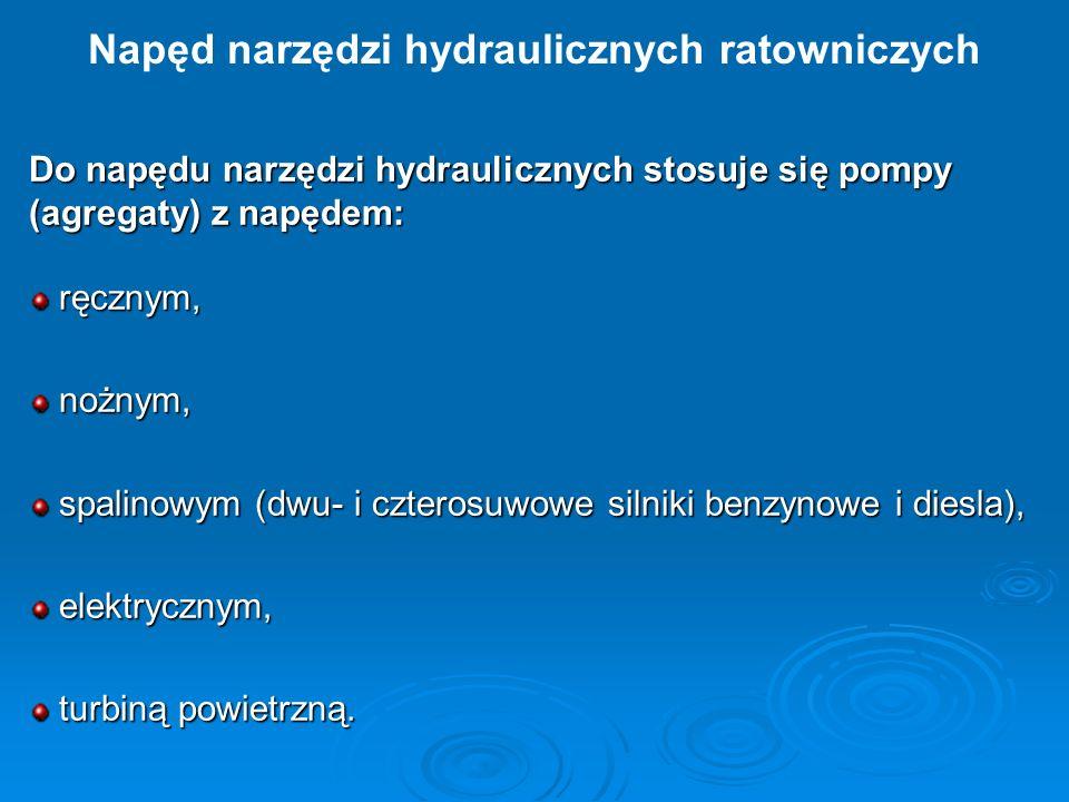 Do napędu narzędzi hydraulicznych stosuje się pompy (agregaty) z napędem: ręcznym, ręcznym, nożnym, nożnym, spalinowym (dwu- i czterosuwowe silniki be