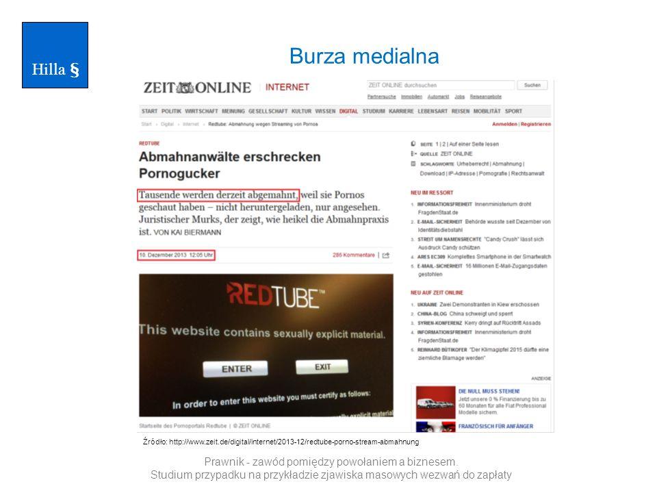 Burza medialna Hilla § Źródło: http://www.zeit.de/digital/internet/2013-12/redtube-porno-stream-abmahnung Prawnik - zawód pomiędzy powołaniem a biznesem.