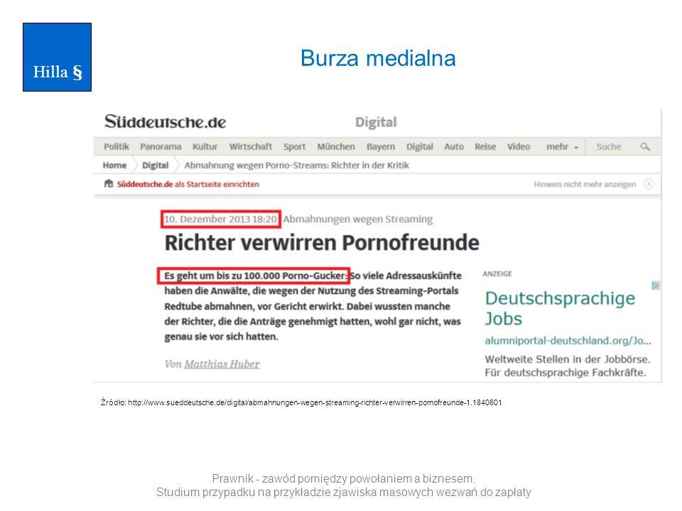 Burza medialna Hilla § Źródło: http://www.sueddeutsche.de/digital/abmahnungen-wegen-streaming-richter-verwirren-pornofreunde-1.1840601 Prawnik - zawód pomiędzy powołaniem a biznesem.