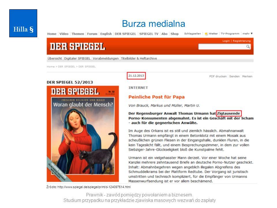 Burza medialna Hilla § Źródło: http://www.welt.de/print/welt_kompakt/webwelt/article123364130/50-000-Abmahnungen-an-Telekom-Kunden.html Prawnik - zawód pomiędzy powołaniem a biznesem.