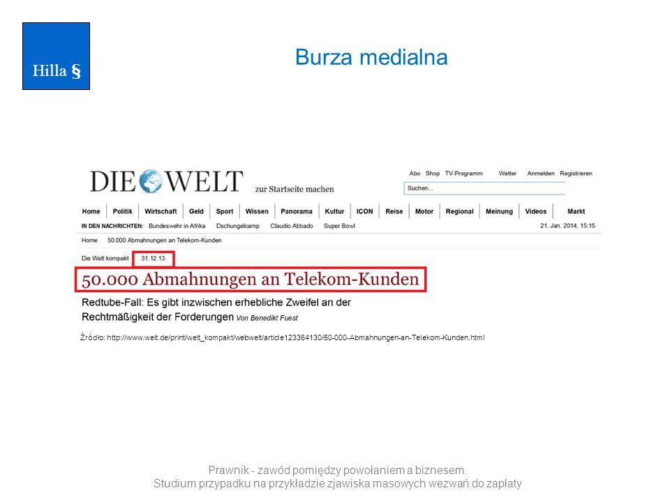 Burza medialna Hilla § Źródło: http://www.welt.de/print/welt_kompakt/webwelt/article123364130/50-000-Abmahnungen-an-Telekom-Kunden.html Prawnik - zawó