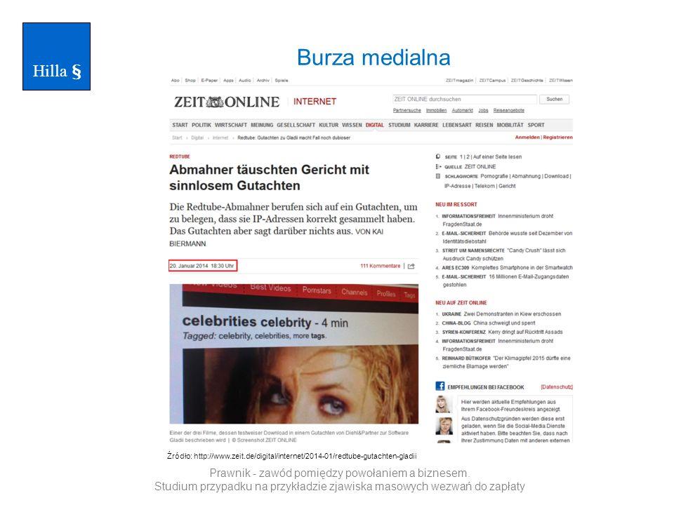 Burza medialna Hilla § Źródło: http://www.zeit.de/digital/internet/2014-01/redtube-gutachten-gladii Prawnik - zawód pomiędzy powołaniem a biznesem.