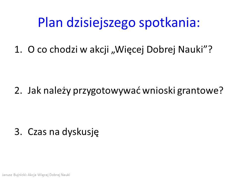 Akcja Więcej Dobrej Nauki Wsparcie polskich naukowców w przygotowywaniu wniosków grantowych Idea: dobry pomysł na badania + dobry wniosek Jak ją zrealizować.