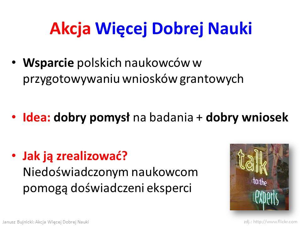 Akcja Więcej Dobrej Nauki Wsparcie polskich naukowców w przygotowywaniu wniosków grantowych Idea: dobry pomysł na badania + dobry wniosek Jak ją zreal