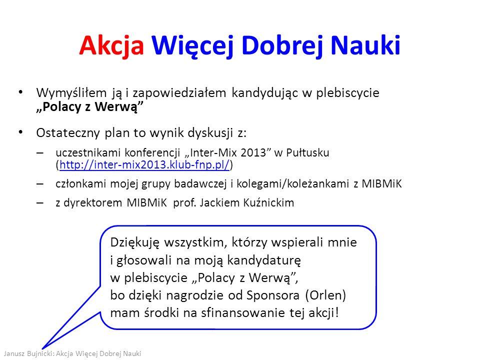 Akcja Więcej Dobrej Nauki Wymyśliłem ją i zapowiedziałem kandydując w plebiscycie Polacy z Werwą Ostateczny plan to wynik dyskusji z: – uczestnikami k