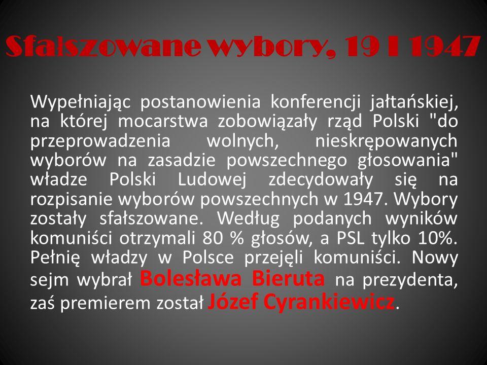 Sfa ł szowane wybory, 19 I 1947 Wypełniając postanowienia konferencji jałtańskiej, na której mocarstwa zobowiązały rząd Polski