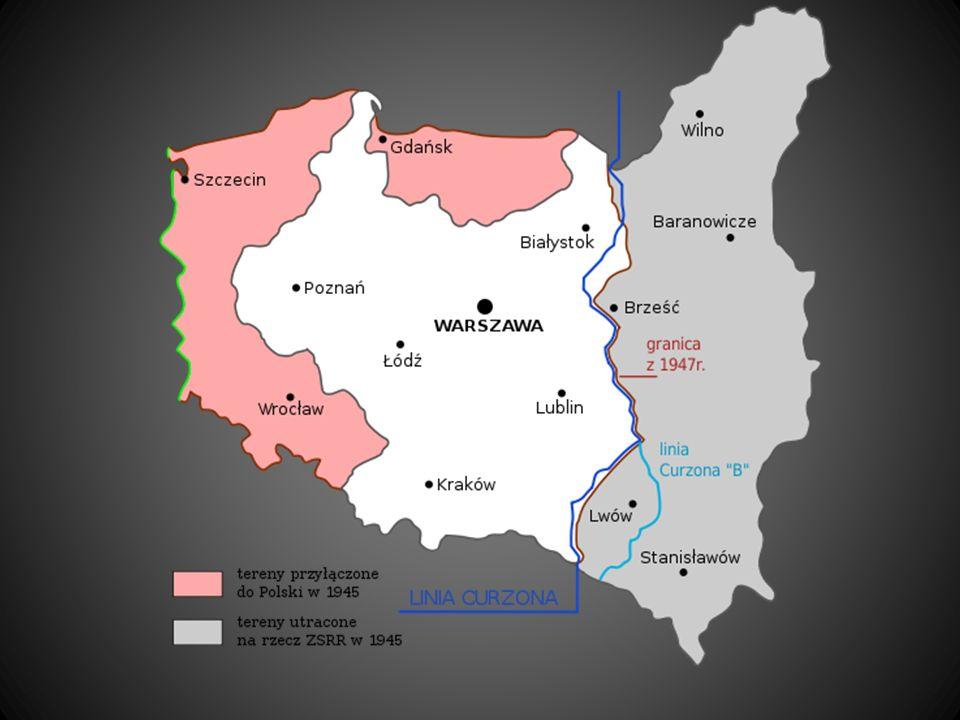 Przesiedlenia ludno ś ci Ludność przed wojną – 35 mln ludzi Ludność po wojnie – 24 mln ludzi Część ludności znalazła się poza terenem Polski wskutek przesunięcia granic na zachód.