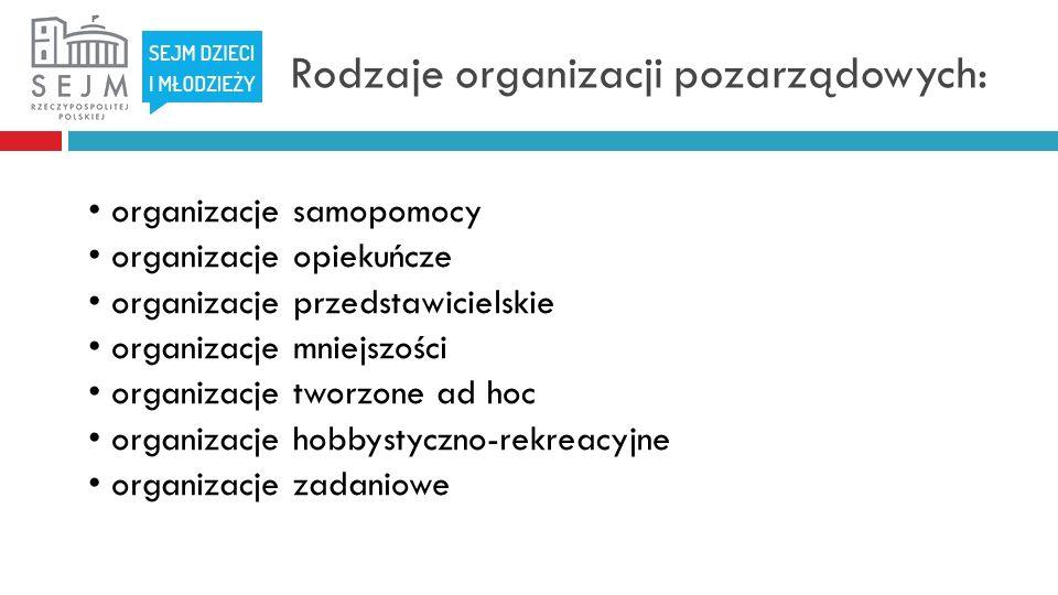 Rodzaje organizacji pozarządowych: organizacje samopomocy organizacje opiekuńcze organizacje przedstawicielskie organizacje mniejszości organizacje tworzone ad hoc organizacje hobbystyczno-rekreacyjne organizacje zadaniowe