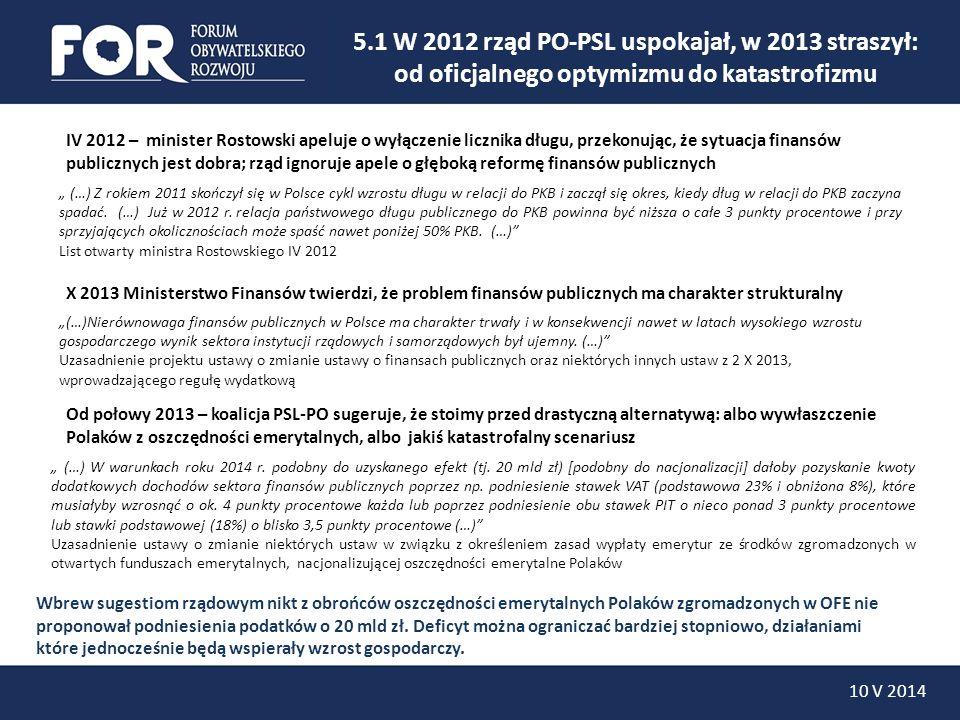10 V 2014 Jeszcze w kwietniu 2013 rząd przewidywał, że bez wywłaszczenia oszczędności emerytalnych Polaków zgromadzonych w OFE, do 2014 roku deficyt zostanie ograniczony do poziomu zbliżonego do 3% PKB.