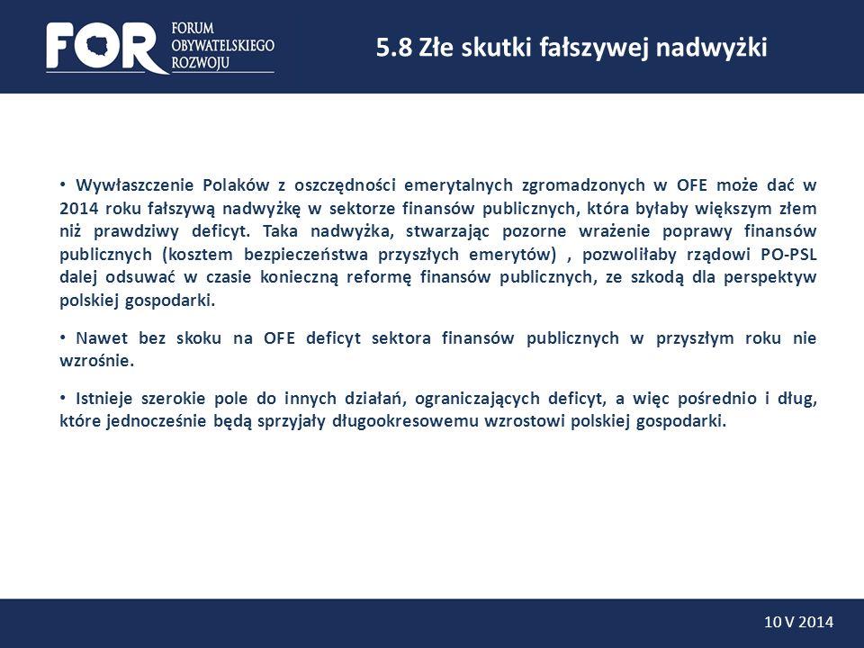 5.8 Złe skutki fałszywej nadwyżki 10 V 2014 Wywłaszczenie Polaków z oszczędności emerytalnych zgromadzonych w OFE może dać w 2014 roku fałszywą nadwyż
