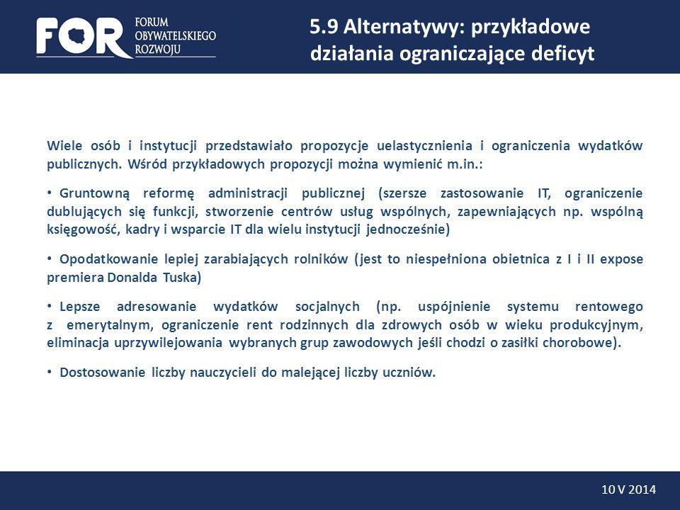 5.9 Alternatywy: przykładowe działania ograniczające deficyt 10 V 2014 Wiele osób i instytucji przedstawiało propozycje uelastycznienia i ograniczenia