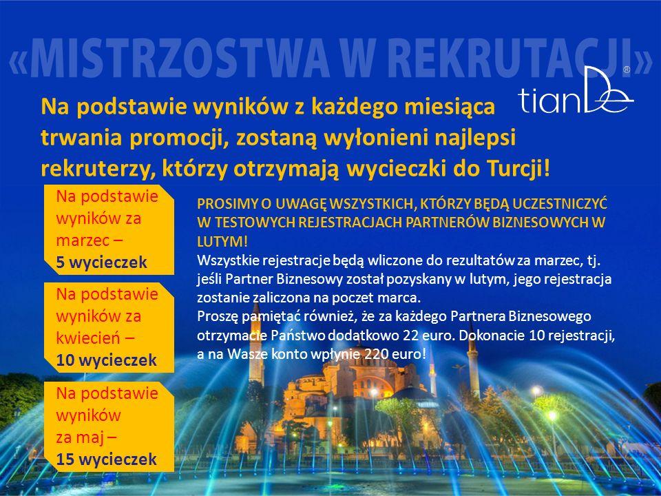 Na podstawie wyników z każdego miesiąca trwania promocji, zostaną wyłonieni najlepsi rekruterzy, którzy otrzymają wycieczki do Turcji.