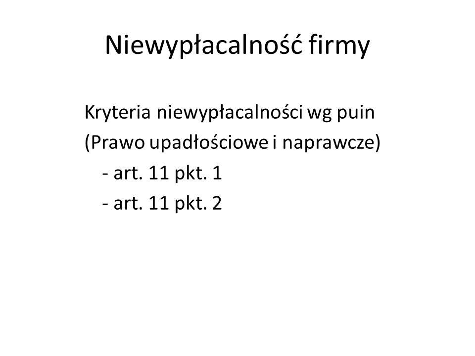 Niewypłacalność firmy Kryteria niewypłacalności wg puin (Prawo upadłościowe i naprawcze) - art.