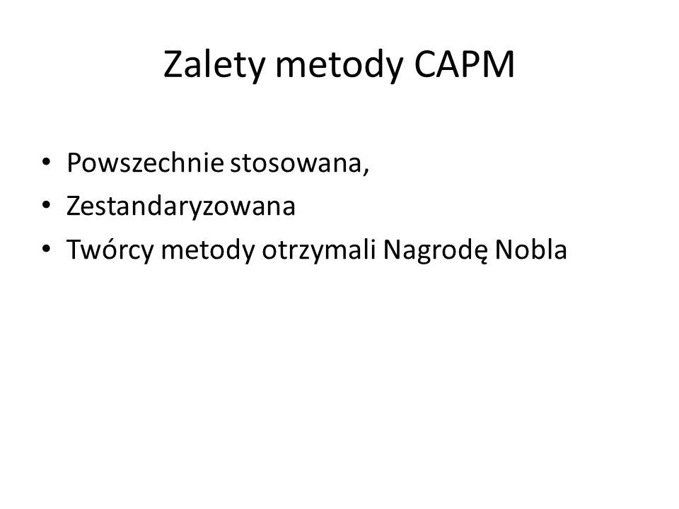 Zalety metody CAPM Powszechnie stosowana, Zestandaryzowana Twórcy metody otrzymali Nagrodę Nobla