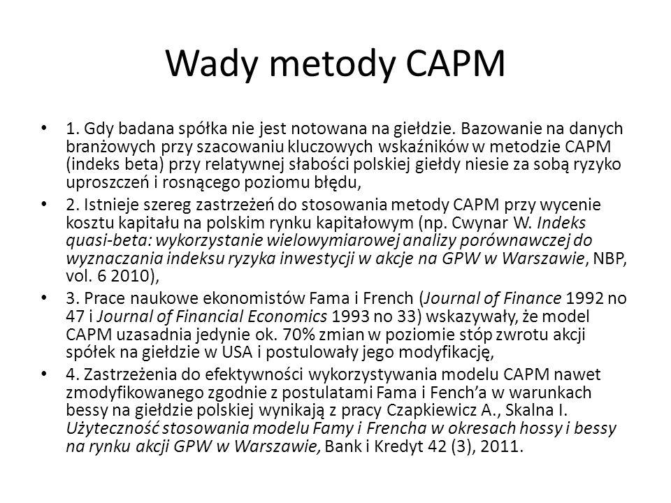 Wady metody CAPM 1. Gdy badana spółka nie jest notowana na giełdzie. Bazowanie na danych branżowych przy szacowaniu kluczowych wskaźników w metodzie C