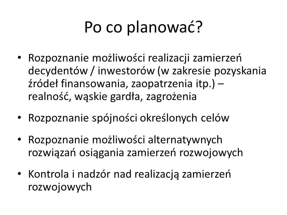 Po co planować? Rozpoznanie możliwości realizacji zamierzeń decydentów / inwestorów (w zakresie pozyskania źródeł finansowania, zaopatrzenia itp.) – r